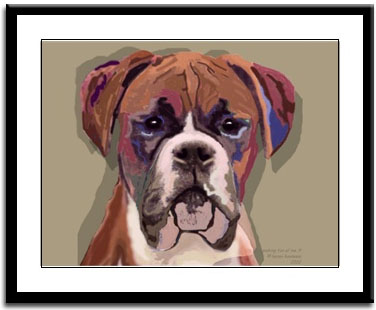 BOXER Coffee Dog Signed 8x10 Art PRINT Painting by VERN