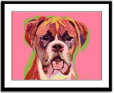 FAWN BOXER NIGHT Dog Signed 8x10 Art PRINT of Original Painting by VERN